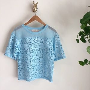 Amazing💙LOFT blue floral lace top💙